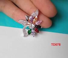 925 Silver Rose Quartz Iridescent CZ Necklace Pendant