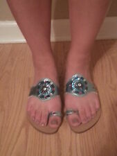 NWOB Women's Skemo Exotic Jeweled Toe Strap Sandals Size 7