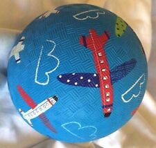 "Crocodile Creek Rubber Indoor Outdoor 5"" Airplanes Aviation Rubber Ball Blue"