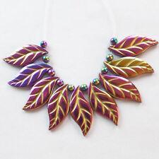 W4815 Multicolor Hematite Carved Leaf Pendant Bead Set