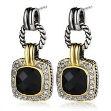Amazing  Black Onyx   White Topaz   dangle  Post earrings  925 silver