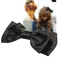 Handmade Huge Women's Girl's Satin Bow Hairpin Ribbon Bow Grosgrain Hair Clips