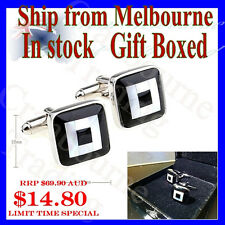 NEW Stylish Cuff Link Black and White Mother of Pearl Square Cufflinks w Box