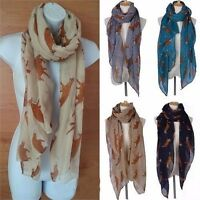 Women Lady Neck Warm Fox Print Scarf Animal Checked Large Long Shawl Wrap Stole