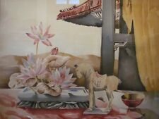 "Large SUE GUILD Mid Century air brush watercolor still life 40"" x 36"""