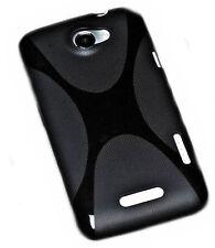 X-Rubber Silikon TPU Handy Cover Case Hülle Schale in Schwarz für HTC One X
