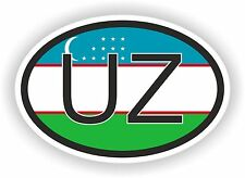 Uzbekistan COUNTRY CODE OVAL WITH FLAG AND UZ STICKER bumper decal car laptop