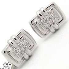 DIAMOND CUFFLINKS SOLID 18K WHITE GOLD 0.29ctw Mens Rectangular 12.5 Grams G/SI