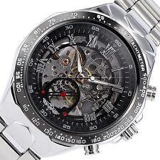 WINNER Mens Skeleton Automatic Auto Mechanical Black Dial Steel Wrist Watch Gift