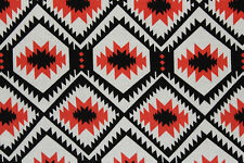 100% Viscose Navajo Inspired Print Dress Fabric Material (Black/Ivory/Tomato)