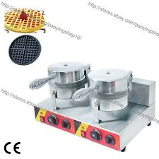 Commercial Nonstick Electric Dual Round Belgian Waffle Maker Iron Baker Machine