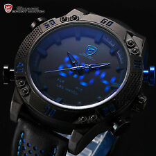 Fashion Men's Kitefin Shark Date Day Digital Blue LED Quartz Leather Sport Watch