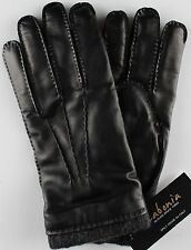 NWT LABONIA GLOVES lamb leather cashmere black luxury handmade Italy 8.5
