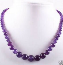 Lovely 6-14mm Amethyst Round Beads Gemstone Necklace 17'' bb41