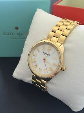 Kate Spade Womens Crosstown Gold plated Steel Mother of Pearl Watch KSW1064 NWT