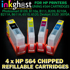 Refillable Cartridges x 4 for HP 564 B211 B611 6510 6520 3520 3540 AUTO CHIPS