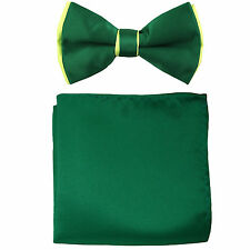New Men's Two tones Pre-tied Bow Tie & Hankie Set Emerald & Neon Green