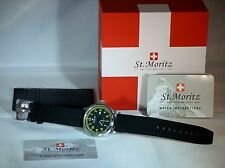 Rotary Mens ST MORITZ GENTS WATCH CINTURINO TELA NERO arabo quadrante gs03610 / 04