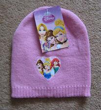 NUOVO, ETICHETTE Girls Rosa Disney Princess Cappello Beanie Cenerentola Ariel Belle Taglia Unica