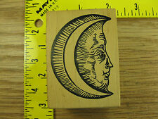 Rubber Stamp Unique Crescent Moon Face by Stampa Rosa Stampinsisters #1910