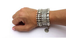 Queen Love Anti Silver Dangle Coin Ladies Bracelets Chunky Wide Bracelet
