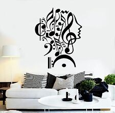 Wall Stickers Vinyl Decal Notes Music Woman Teen Girl Face Decor (z1983)