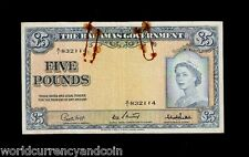 BAHAMAS GOVERNMENT 5 POUNDS P16 1953 QUEEN SHIP RARE GB UK CURRENCY MONEY NOTE