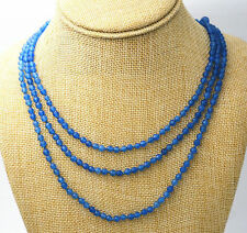 "Gifts jewelry 17-19 ""3 rows faceted 4mm blue Jade bead necklace"
