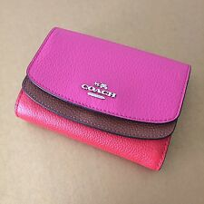 Coach Dahlia Multi Colorblock Leather Double Flap Medium French Wallet NWT 53852