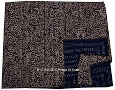 Paisley Queen Size Kantha Quilt Ethnic Indian Handmade Bedspread Bedding Decor