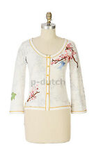 Karen Nichol Anthropologie cute embroidered bird applique Aviary Cardigan M NWOT