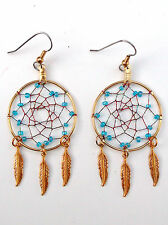 "Dream Catcher Gold 1 3/8"" Earring-JewelTone Thread/Blue Beads-Pizazz Creations"
