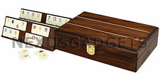TRAVEL RUMMY Rummikub Tiles Board Game Set WOOD Wooden Case Mini Rumi Box Racks