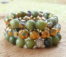 OLIVE GREEN JADE NATURAL BOHO CHIC STACK BRACELETS GOLD OMBRE PAVE BEAD JEWELRY