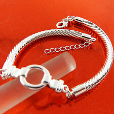 A528 GENUINE REAL 925 STERLING SILVER SF SOLID LADIES TWIST CUFF BRACELET BANGLE