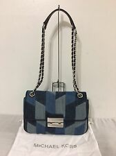 NWT MICHAEL Michael Kors Large Sloan Denim Shoulder Bag 30S6SSLL9C, Blue Multi