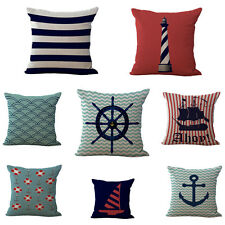 Navigation Buoy Boat Anchor Cotton Linen Pillow Case Cushion Cover Blue