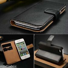 APPLE IPHONE 4 & 4S  PREMIUM GENUINE  REAL LEATHER WALLET STAND CASE COVER
