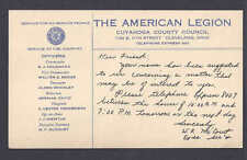1947 AMERICAN LEGION OFFICIAL NOTICE CLEVELAND OH
