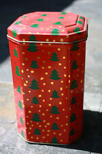 Vintage Christmas Tree Red Hinged Tin Container Tall Octagon Shape