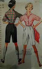 VTG 50s Lovely Misses Blouse &  Shorts Unused FF Simplicity 4746 Size 14 Bust 32