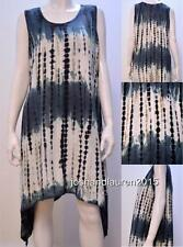 PLUS SIZE FUNKY TIE DYE BOHO CHIC NOMAD HIPPIE TUNIC DRESS CHARCOAL 16 18 20
