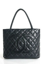 Chanel Black Caviar Leather Quilted Medallion Tote Handbag