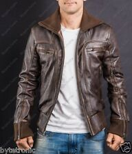 Mens Vintage Retro Bomber Aviator Handmade Distessed Brown Leather Jacket