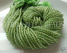 "Full 13"" strand AAA PERIDOT micro faceted round gem stone beads 3mm"