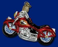 MOTORCYCLE OLD WORLD CHRISTMAS GLASS HARLEY DAVIDSON TYPE CHOPPER ORNAMENT 46008
