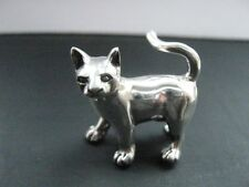 925 Heavy solid Sterling Silver Miniature Walking Cat Figure Statue 14 gram 3 cm