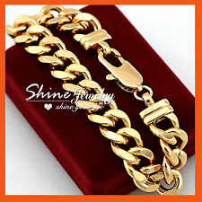 18K YELLOW GOLD FILLED CUBAN CURB RINGS CHAIN SOLID MENS CHUNKY BANGLE BRACELET