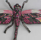 """AB PINK RHINESTONE DRAGONFLY FLY BUG INSECT PIN BROOCH PENDANT MOVABLE 4 3/4""""LRG"""
