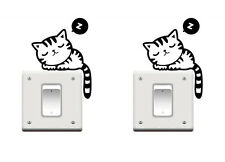 2 Pieces Sleeping Cat Wall Sticker Switch Board Decor Home Decoration stickers